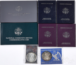 Six American eagle 1 ozt. silver coins, etc.