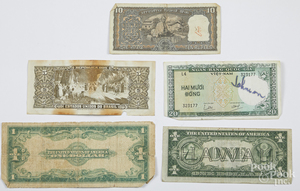 1935 Hawaii one dollar silver certificate, etc.