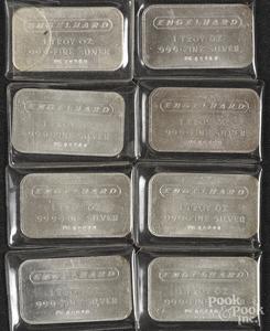 Nine Engelhard 1 ozt. fine silver ingots.
