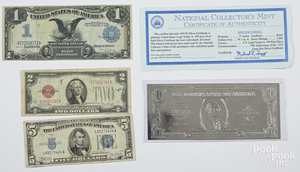 1899 one dollar silver certificate, etc.
