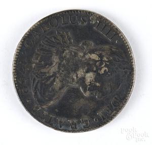 Bolivia 1792 Carolus III 8 reales coin.