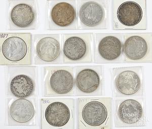 Fifteen Morgan silver dollars, etc.