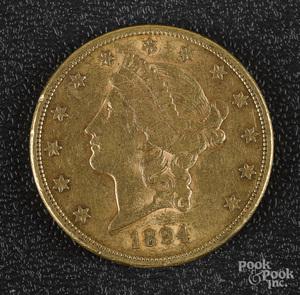 1894 Liberty twenty dollar gold coin.