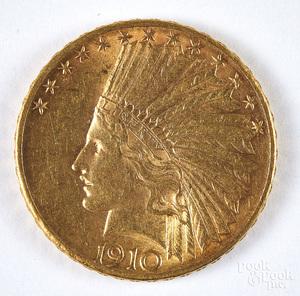 1910 D Indian head ten dollar gold coin.