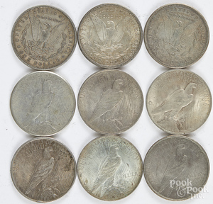 Six Peace silver dollars, etc.