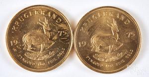 Two South Africa 1 ozt. fine gold Krugerrands.