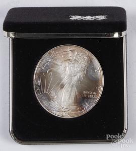 Ten American eagle 1 ozt. fine silver coins, etc.
