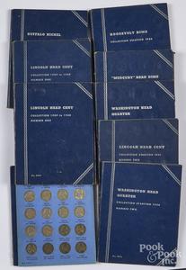 Nine assorted Whitman blue coin folders, etc.