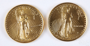 Two Liberty eagle 1/10 ozt. fine gold coins.