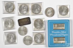 Nine American Eagle 1 ozt. fine silver coins, etc