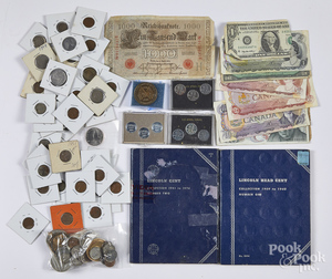 Miscellaneous coins and paper currency.