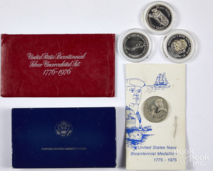 Three 1 ozt. fine silver coins, etc.