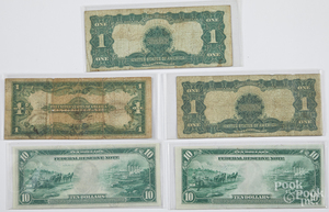 Two Philadelphia 1914 ten dollar notes, etc.