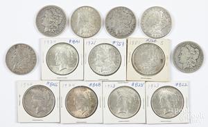 Eight Morgan silver dollars, etc.