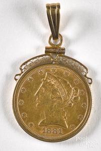 1881 five dollar Liberty head gold coin, etc.