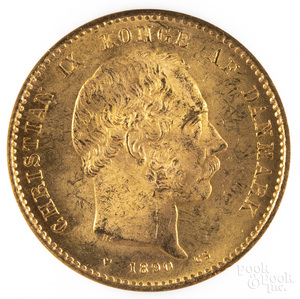 Two 1890 20 Kroner gold coins NGC MS 64.