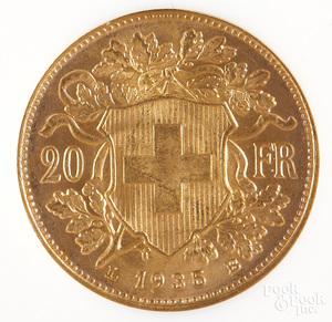 Swiss 1935LB 20 Franc gold coin NGC MS 65.