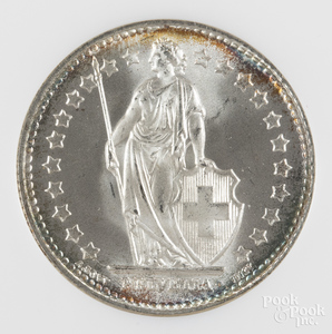 1943 Swiss one Franc silver coin NGC MS 65.