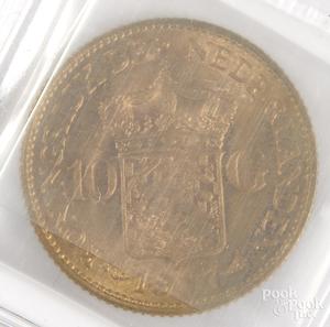 1917 Netherlands 10 Gulden gold coin.