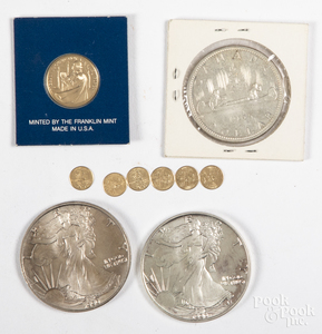 Two Liberty eagle 1 ozt. fine silver coins, etc.