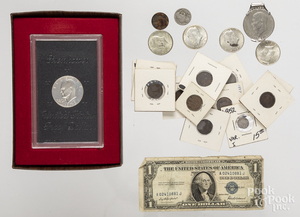 US coins and currency.