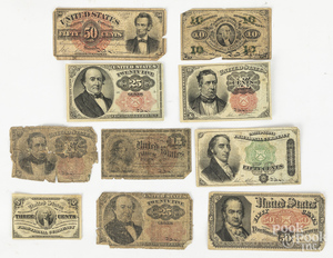 Ten pieces of US fractional currency.