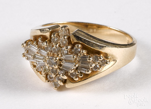 14K yellow gold and diamond cluster ring, 4.8 dwt