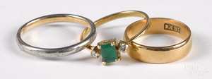Two 18K wedding bands, 4 dwt., etc.