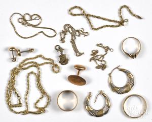14K gold jewelry, 19 dwt.