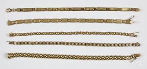 Five 14K gold bracelets, 28.3 dwt.