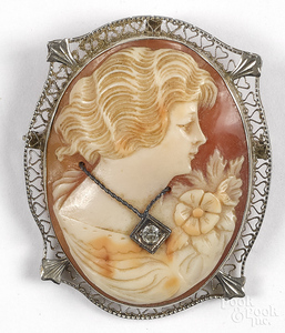 14K gold cameo pin.