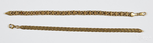Two 18K yellow gold bracelets, 7.3 dwt.