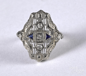 14K white gold diamond and gemstone ring.