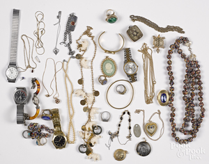 Group of costume jewelry, etc.