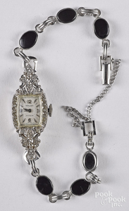 Gruen 14K white gold and diamond ladies wristwatch