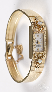 Matina 14K yellow gold ladies wristwatch, 19.2 dwt.
