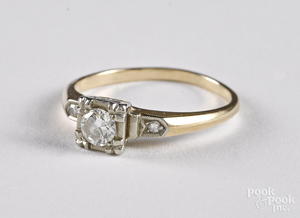 14K and 18K gold and diamond ring, 1.3 dwt.