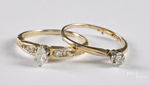 Two 14K gold and diamond rings, 2.5 dwt.