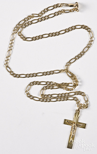 14K yellow gold necklace with cross pendant.