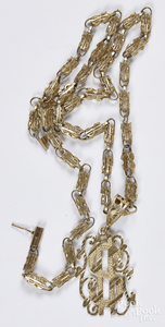 10K yellow gold money symbol necklace, 16.3 dwt.