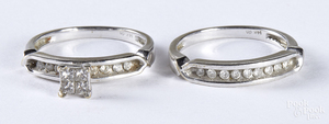 14K white gold and diamond wedding band set.