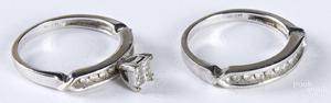 14K white gold and diamond wedding band set.