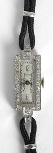 Waltham platinum and diamond ladies wristwatch.