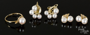 Two pairs of Mikimoto 14K yellow gold earrings, etc.