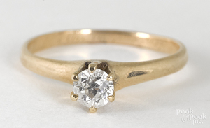 14K yellow gold diamond solitaire ring, 1.2 dwt.
