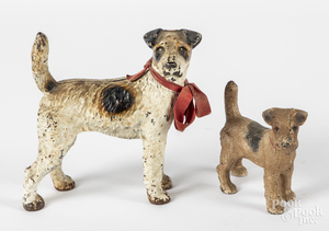 Painted cast iron fox terrier doorstop, etc.