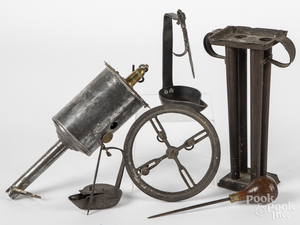 Salter clockwork brass and tin spit, etc.