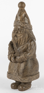 Contemporary carved wooden Santa Claus figure