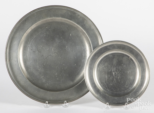 Two Connecticut, Joseph Danforth pewter plates