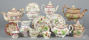 Collection of strawberry and lustre teawares